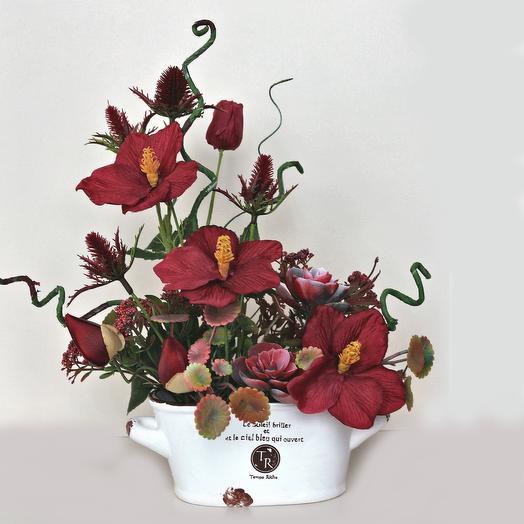 Композиция из искусственных цветов 400660: букеты цветов на заказ Flowwow