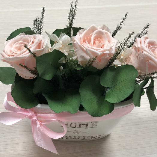 Розы персиковые с эвкалиптом