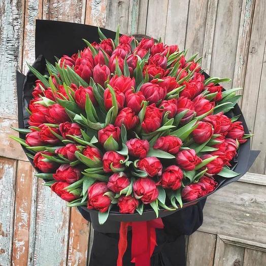Тюльпаны пионовидные бордовые 101 шт: букеты цветов на заказ Flowwow