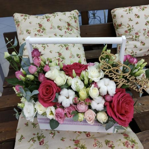 """Ящик с цветами """" нежный """": букеты цветов на заказ Flowwow"""