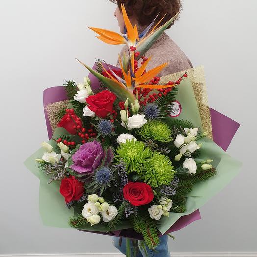 """Экстравагантный букет со стрелицией """"Огни тропиков"""": букеты цветов на заказ Flowwow"""