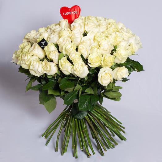 """101 роза с сердцем """"I LOVE YOU"""" ко дню всех влюбленных: букеты цветов на заказ Flowwow"""
