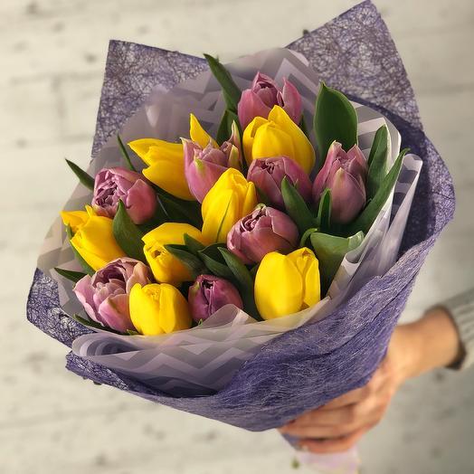 Желто-сиреневый микс (15 тюльпанов)