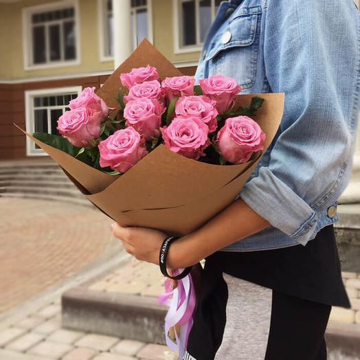 Роза маритим 60 см, 11 шт в крафте