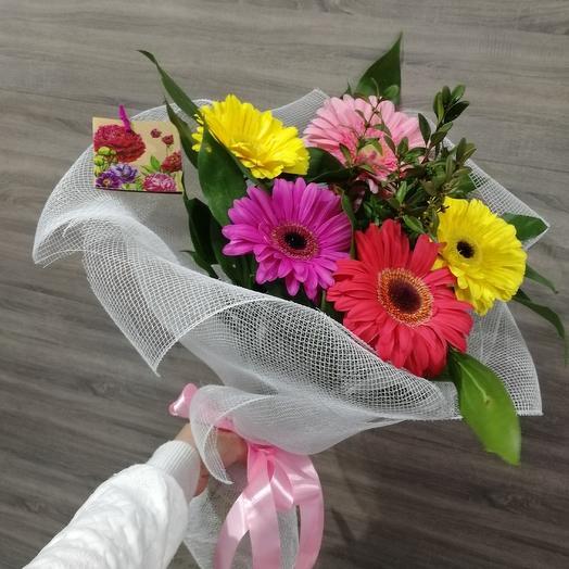 A bouquet of a rainbow of gerberas
