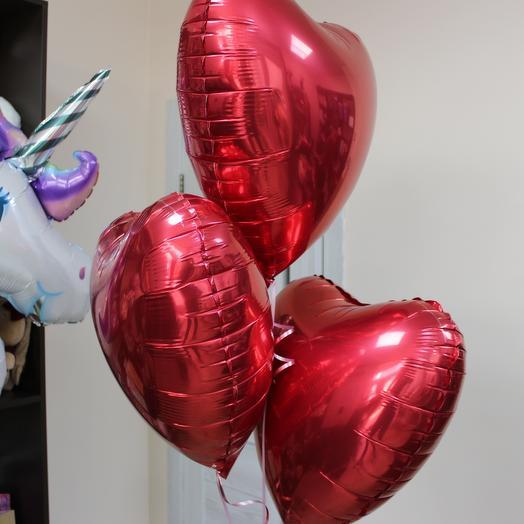 Набор из 3х красных сердец