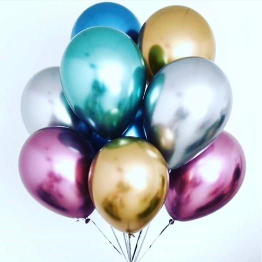 Rosalina - сет из 9 хромированных разноцветных шаров с гелием