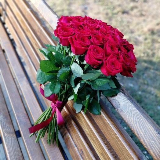 ✅ Букет Красных роз 💐 под ленту по спирали