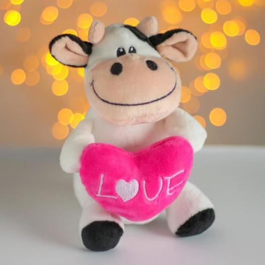 Мягкая игрушка «Бычок с розовым сердцем»