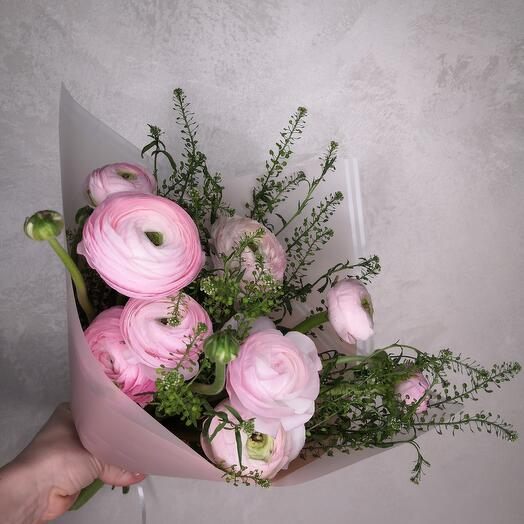 9 Розовых Ранункулюсов