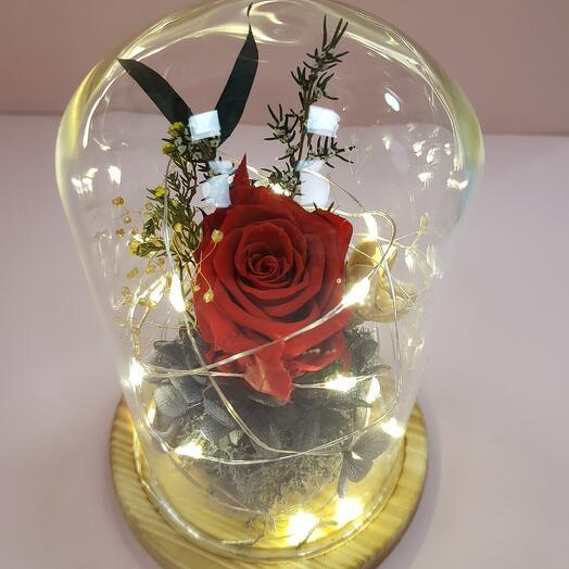 Роза в колбе с подсветкой мини
