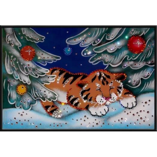 """Картина с кристаллами Swarovski """"В зимнем лесу"""""""