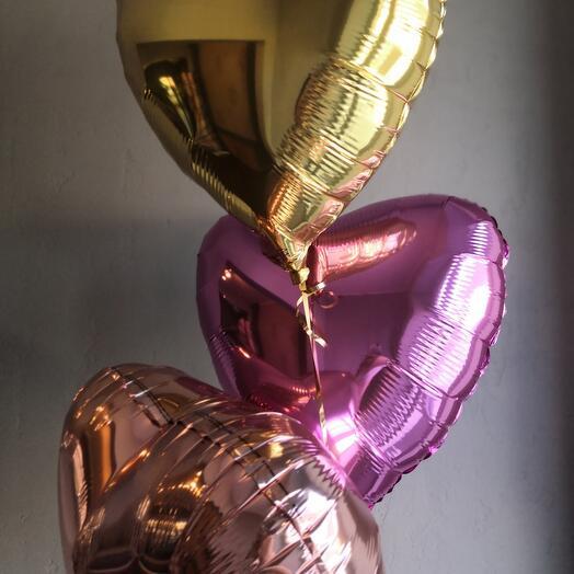 Фольгированный шар сердце цвет  микс