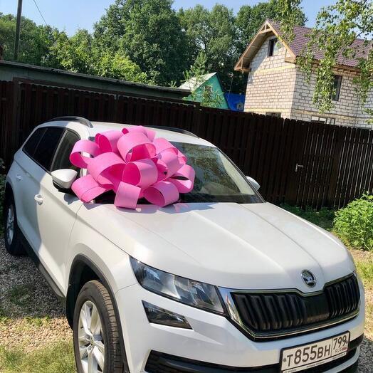 Ярко - розовый бант на машину 90 см