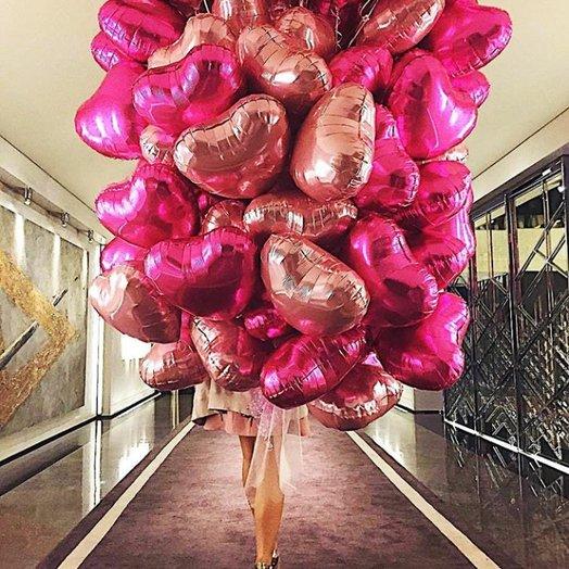 Романтический микс сердец - 50 штук: букеты цветов на заказ Flowwow