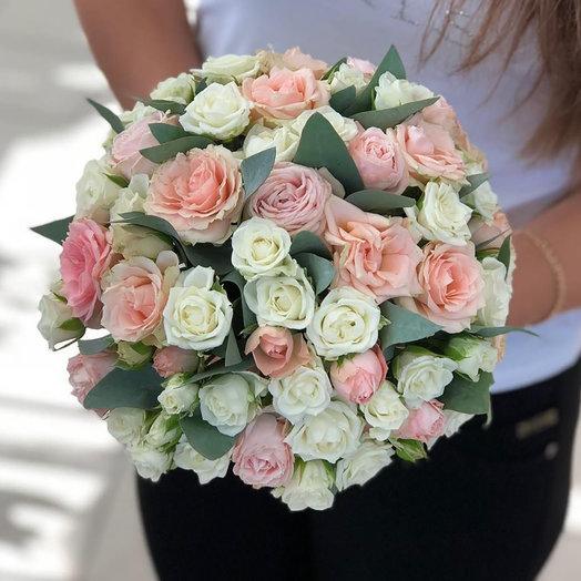 """Свадебный розовый букет """"Цветочный рай"""""""
