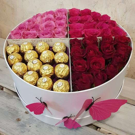 Стильная коробка роз с конфетами  Ferrero rocher: букеты цветов на заказ Flowwow