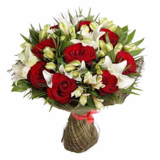 Букет из роз с лилиями: букеты цветов на заказ Flowwow