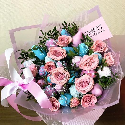 Клубничный букет «Единорог»: букеты цветов на заказ Flowwow