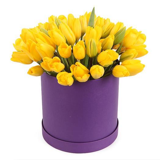51 желтый тюльпан в коробке