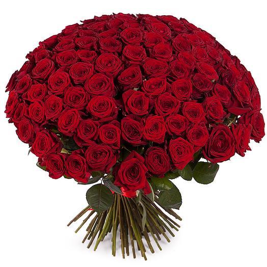 Букет из 101 красной розы 60/70 см: букеты цветов на заказ Flowwow