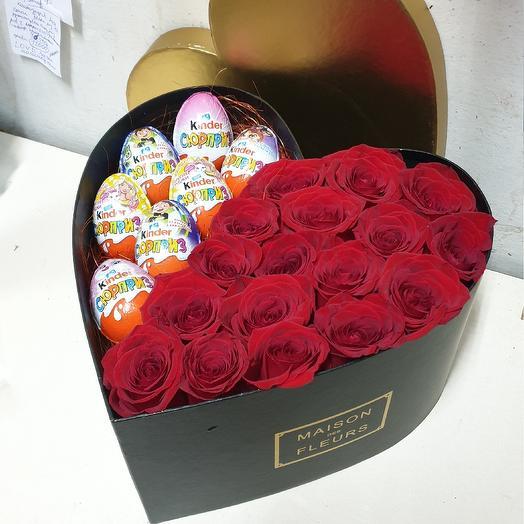 сердце из роз с киндерами