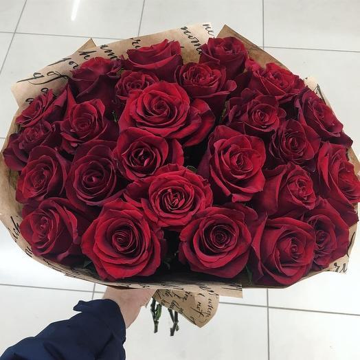 25 роз Эквадор эксплорер 60см: букеты цветов на заказ Flowwow