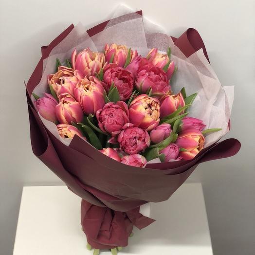21 пионовидный розовый тюльпан: букеты цветов на заказ Flowwow