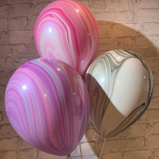 Набор из 3х шаров Агат с гелием и обработкой hifloat