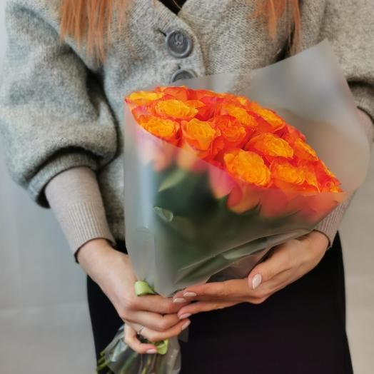 Роза 40 см оранж 21