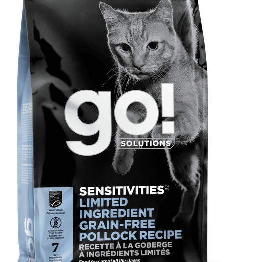 GO! беззерновой корм для котят и кошек с чувствительным пищеварением, с минтаем 3,63 кг