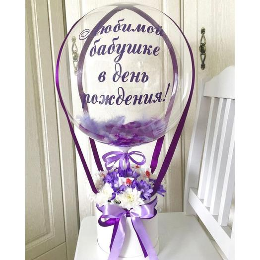 Шар bubbles с цветами