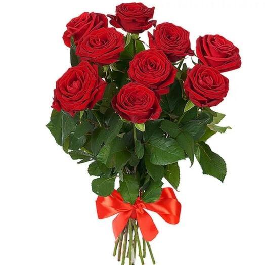 9 бордовых роз 🌹
