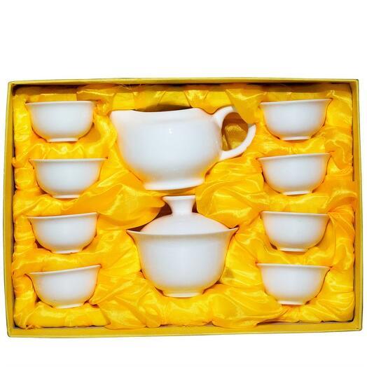 чайный набор (гайвань, чахай, 8 пиал), белый фарфор 1 шт