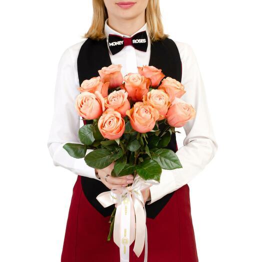 """Моно из 11 волшебно-красивых роз сорта Кахала """"Брызги шампанского"""""""