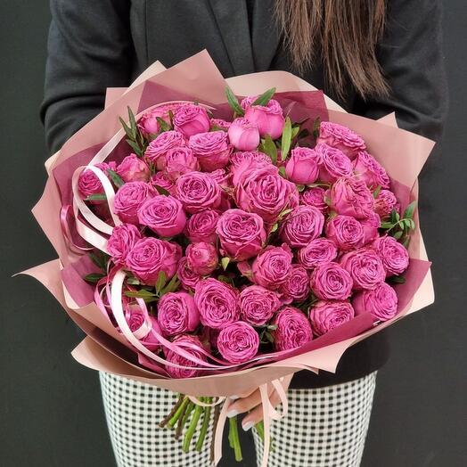 Букет кустовой пионовидной розы Class Sensation 15шт