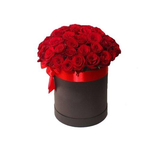 35 красных роз в шляпной коробке: букеты цветов на заказ Flowwow
