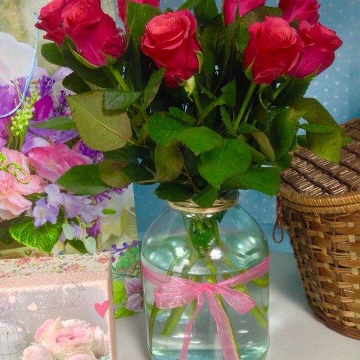 9 розовых роз : букеты цветов на заказ Flowwow