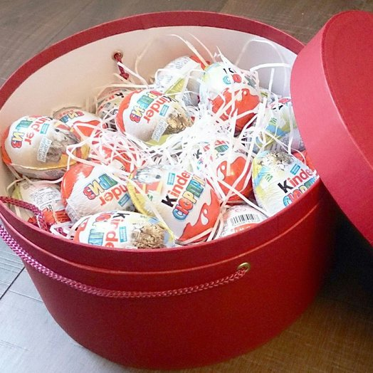Hat box of 50 kinder. Code: flowers to order Flowwow