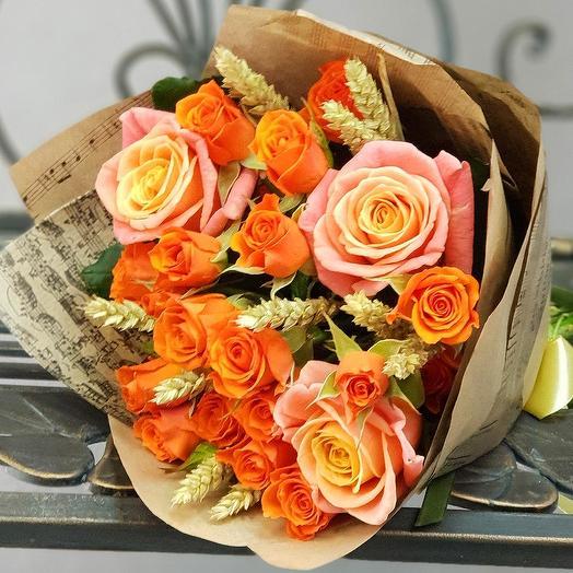 Букет из кустовой розы с пшеницей: букеты цветов на заказ Flowwow