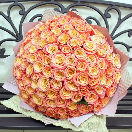 """""""Мисс Пигги"""" - 101 роза 50 см: букеты цветов на заказ Flowwow"""