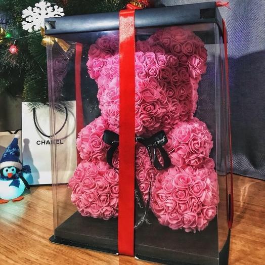 Розовый мишка из роз (40 см): букеты цветов на заказ Flowwow