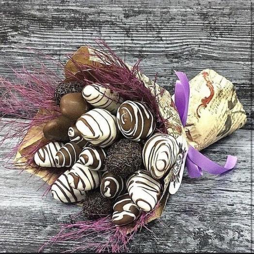 Клубничный букет «шоколадка»: букеты цветов на заказ Flowwow
