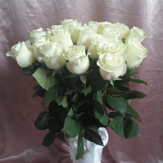 Букет из 21 белой эквадорской розы