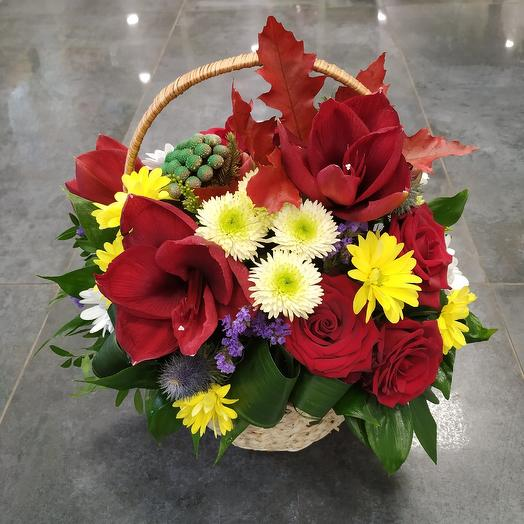 Осенняя корзинка с амариллисом: букеты цветов на заказ Flowwow