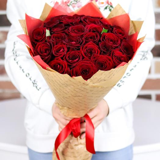 Розы. Букет из 29 красных роз (50 см). N376