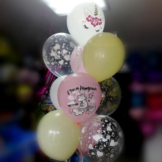 Фонтан из гелиевых шаров из 10 шт: букеты цветов на заказ Flowwow