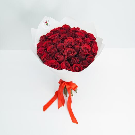 Букет из 35 красной розы (40см)