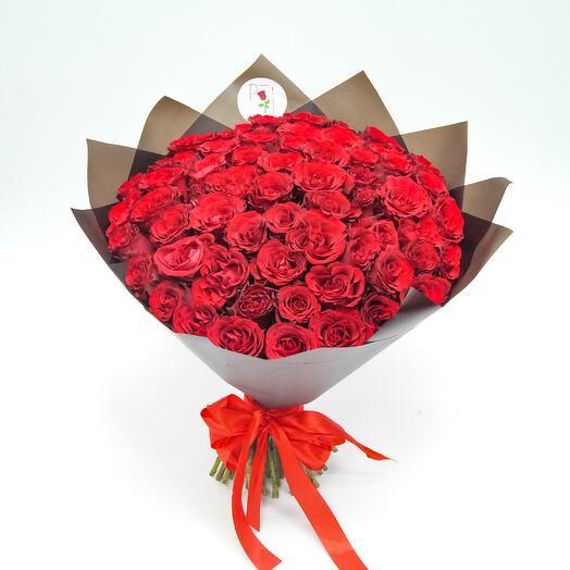 Букет 75 красная роза