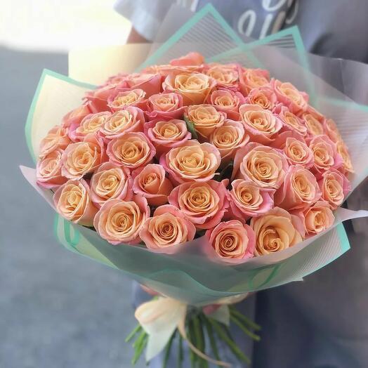 Bouquet of 35 peach roses
